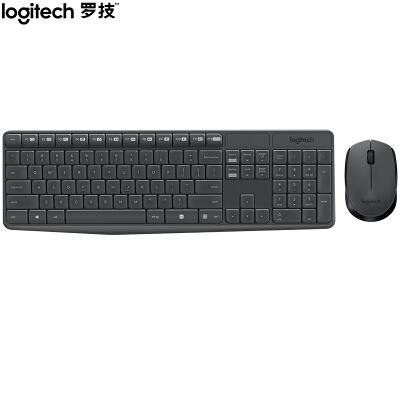 罗技(Logitech)MK235 键鼠套装 无线键鼠套装 办公键鼠套装 全尺寸 黑灰色 带无线2.4G接收器