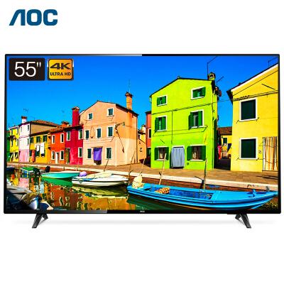 AOC液晶平板电视 55如何下载伟德ios版大屏显示器 4K超清HDR 10bit色彩 开机无广告 1+8GB 安防监控智能安卓电视机55U2