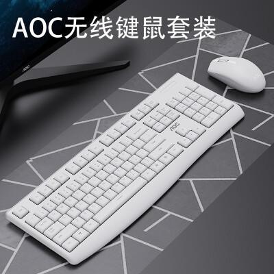 AOC无线键鼠套装 无线键盘鼠标 笔记本台式电脑通用键鼠套装 办公家用键盘笔记本电脑键盘 KM220白色