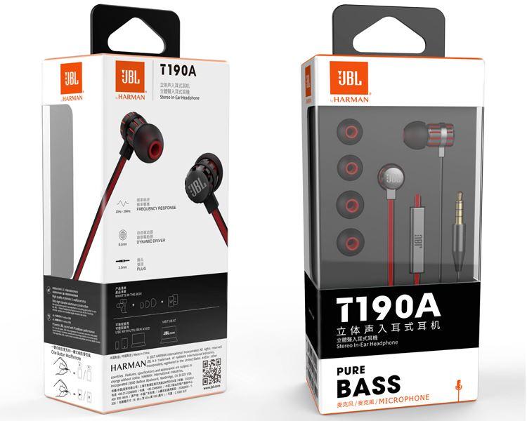 JBL T190A 立体声入耳式伟德国际bv 手机伟德国际bv 电脑游戏伟德国际bv 带麦可通话 苹果安卓通用