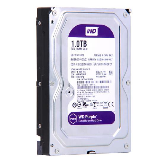 西部数据(WD)紫盘 1TB SATA6Gb/s 64M 监控硬盘(WD10EJRX)