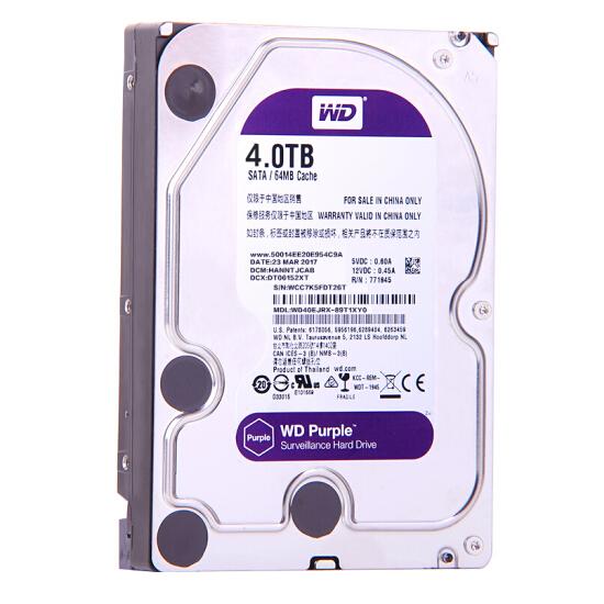 西部数据(WD)紫盘 4TB SATA6Gb/s 64M 监控硬盘(WD40EJRX)