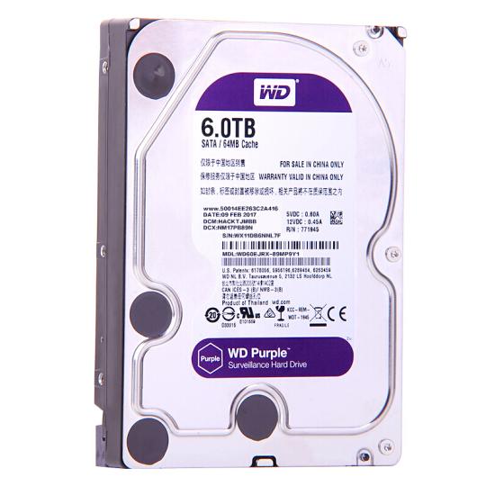 西部数据(WD)紫盘 6TB SATA6Gb/s 64M 监控硬盘(WD60EJRX)